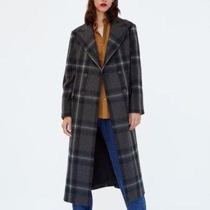 LONG PLAID COAT, Size: Medium